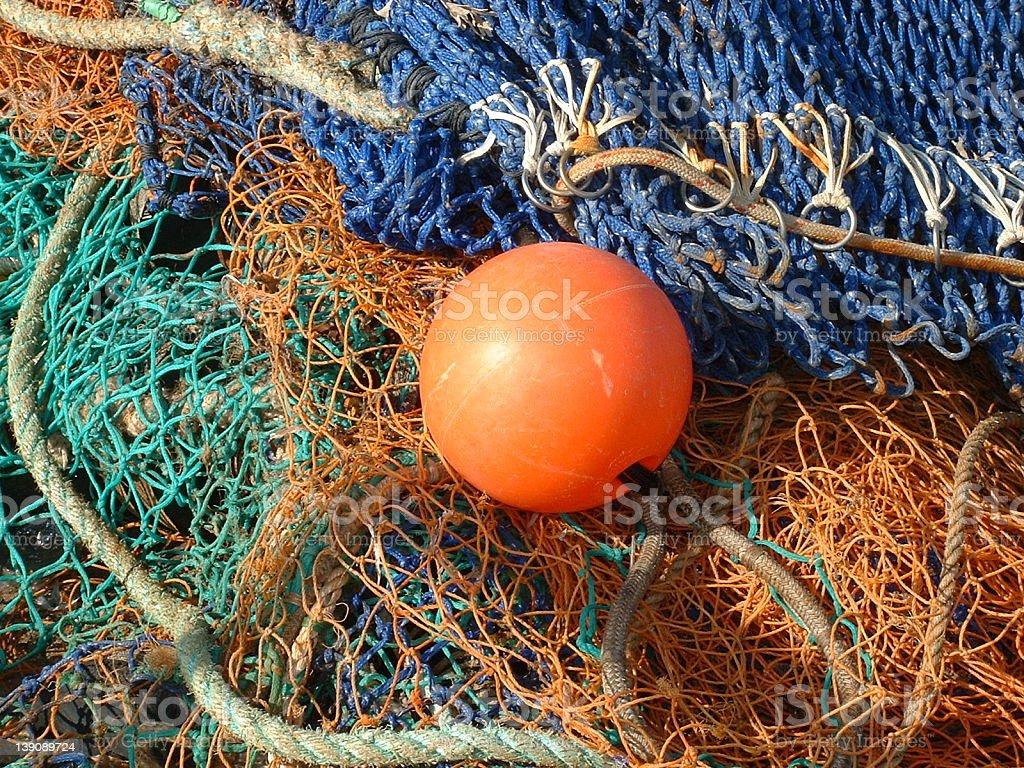 Buoy and Coloured Nets royalty-free stock photo