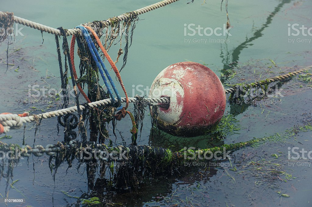 Buoy and coloured ropes stock photo