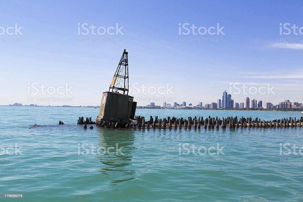 buoy on breakwater royalty-free stock photo