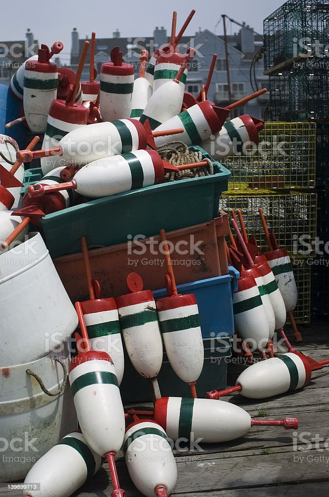 Buoy Pile with lobster traps royalty-free stock photo