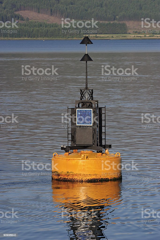 Buoy with sun panel. royalty-free stock photo