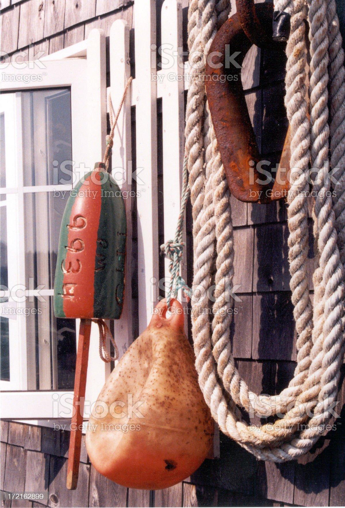 Buoys and rope royalty-free stock photo