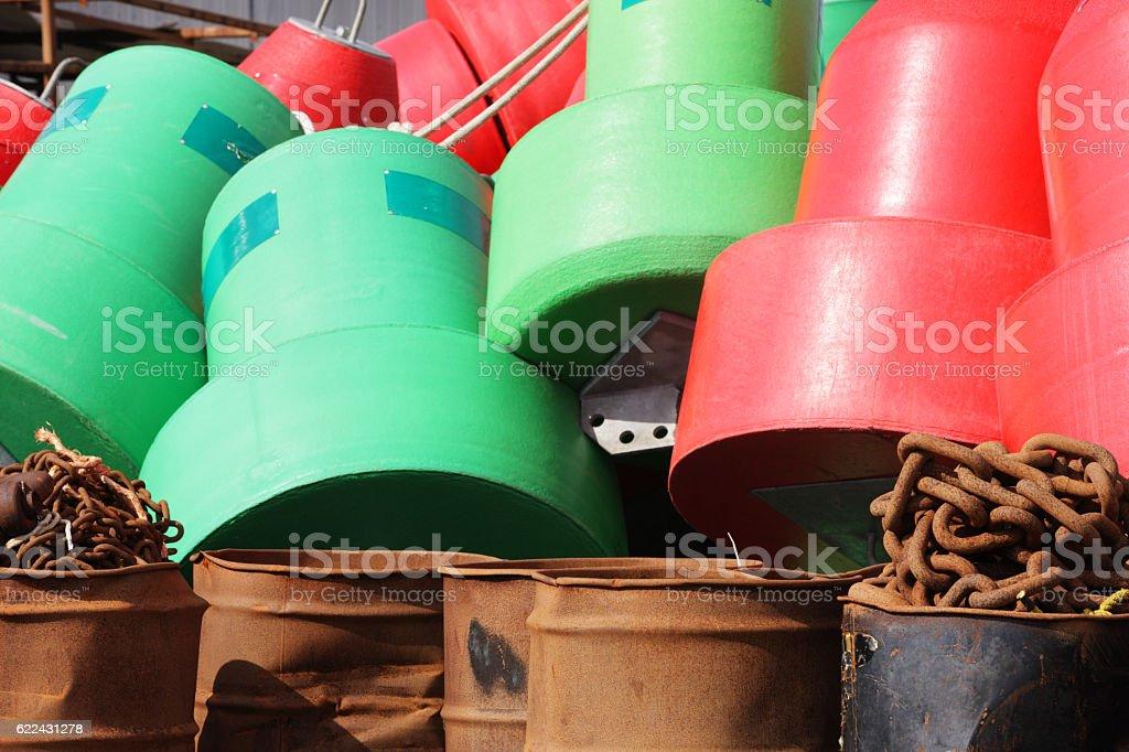 Buoys Chains Barrels Nautical Harbor Equipment stock photo