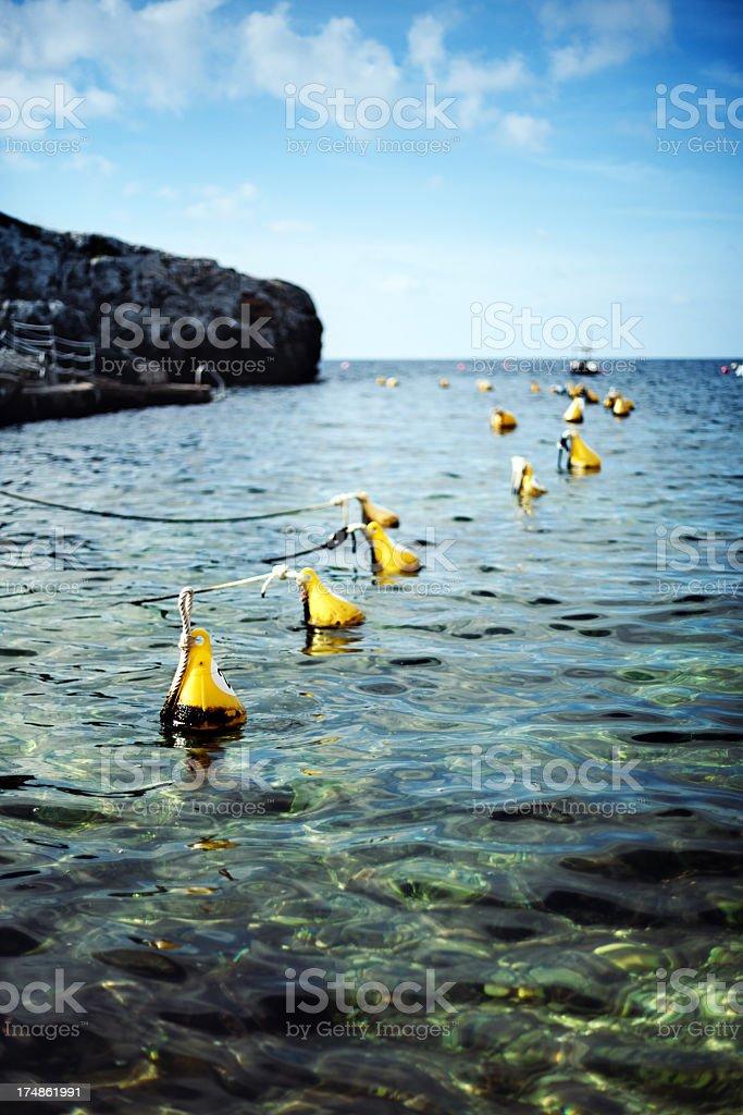 Buoys in a row stock photo