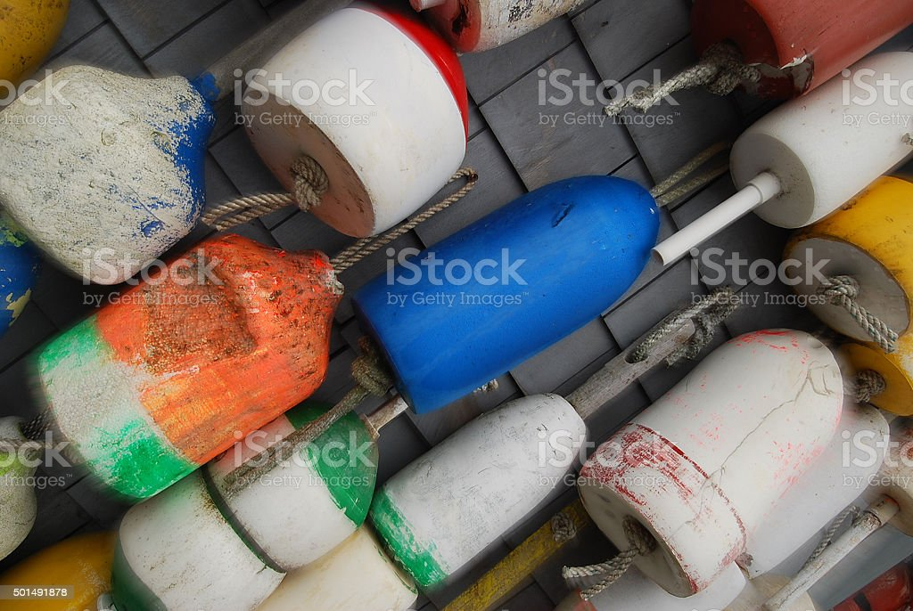 Buoys on a Slant stock photo