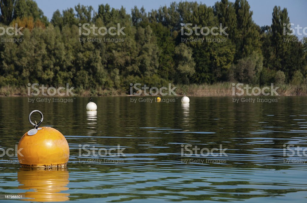 Buoys on Lake Constance, Southern Germany stock photo