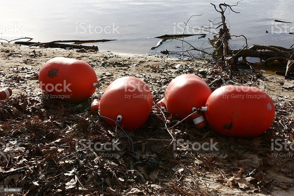 Buoys Washed Ashore royalty-free stock photo