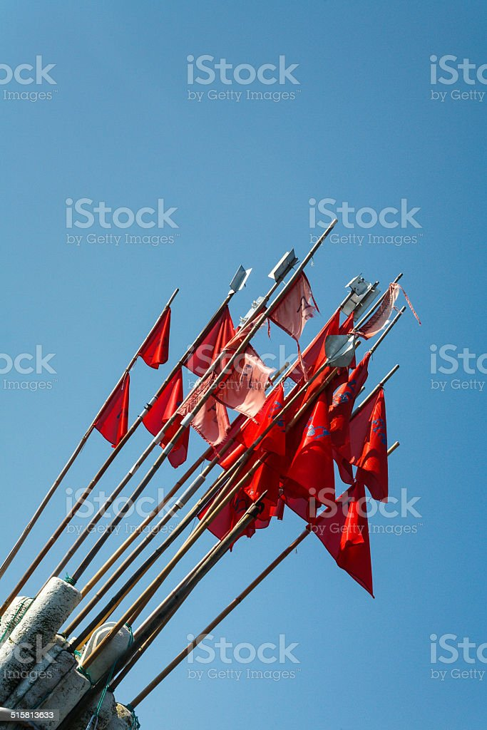 buoys with flags, used with small nets. stock photo