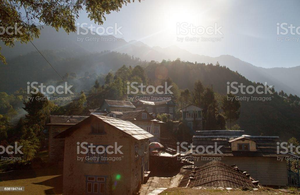 Bupsa village, lodges on the way to Lukla stock photo