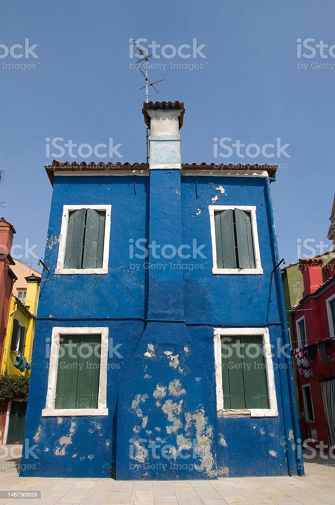 Burano (Venezia) Blue House stock photo