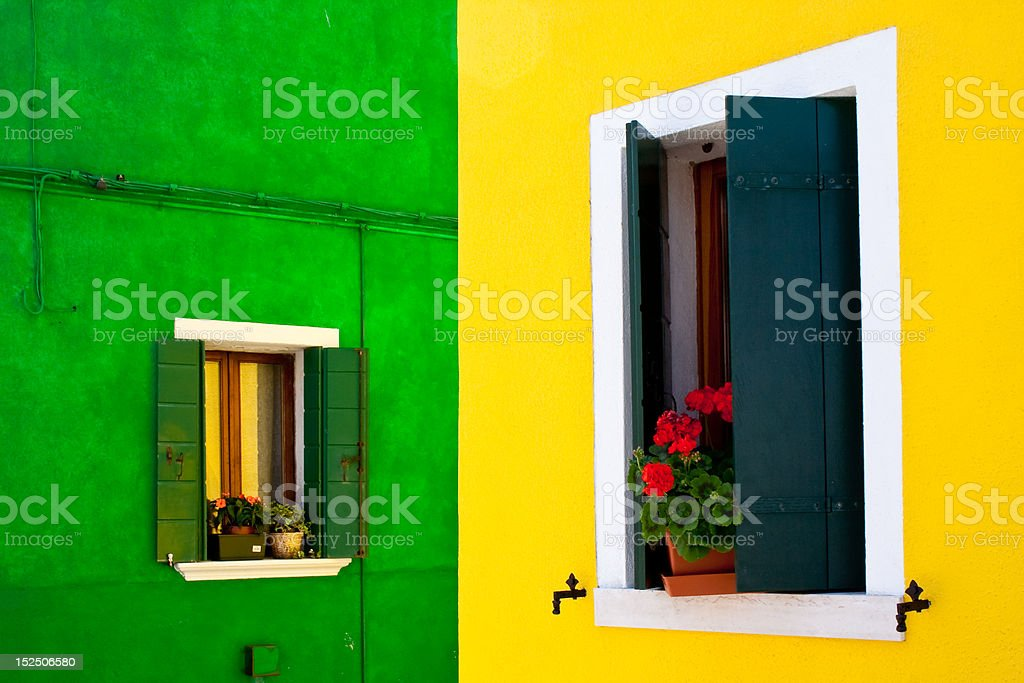 burano house with vibrant colour window and facade royalty-free stock photo