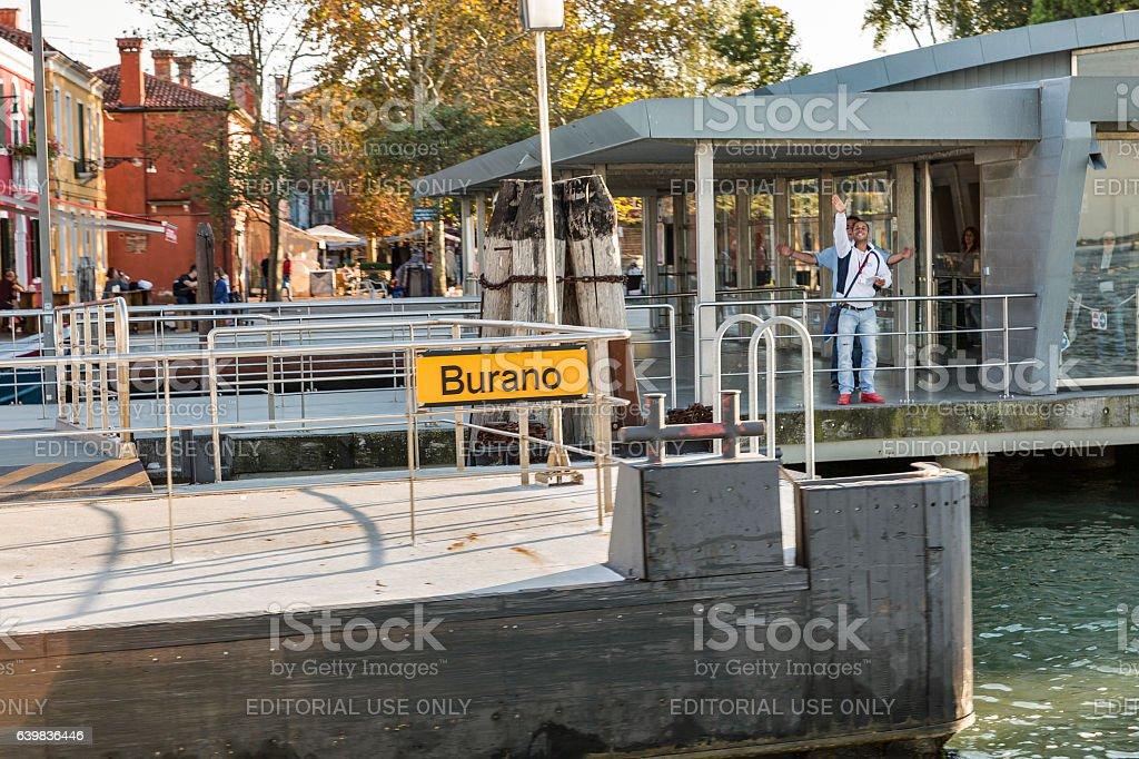 Burano water bus station, Italy stock photo