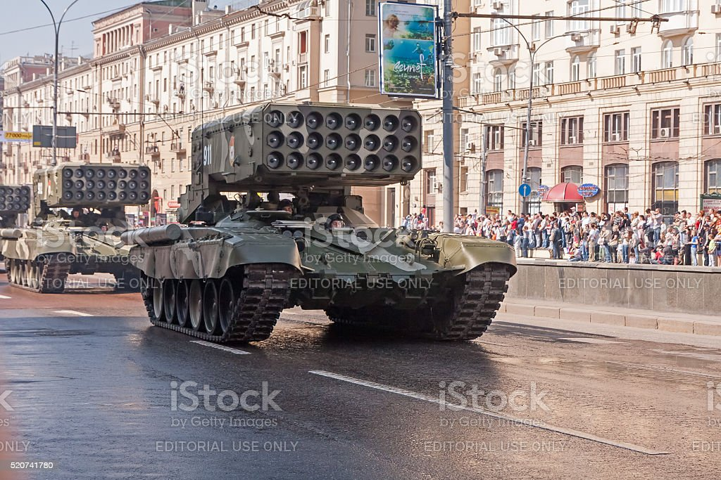 TOS-1 Buratino Heavy Flame Thrower Systems motorcade moves in parade stock photo