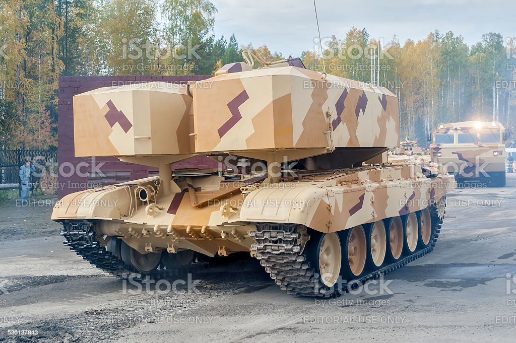 Buratino loading transport. TOS-1A system. Russia stock photo