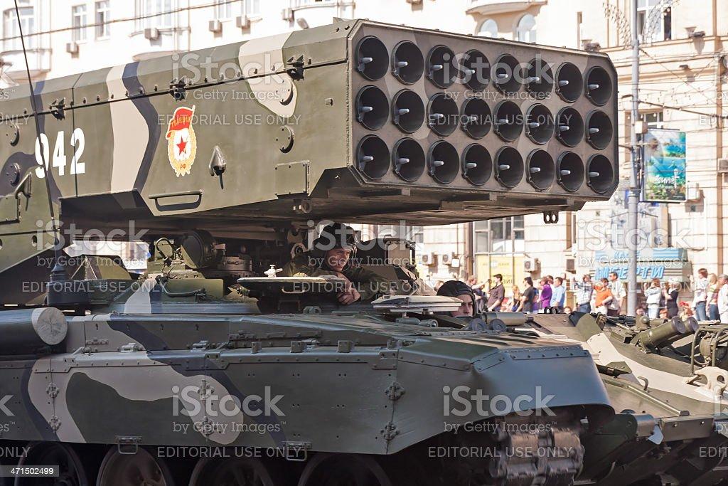 TOS-1 Buratino multiple rocket launchers on parade festivities stock photo