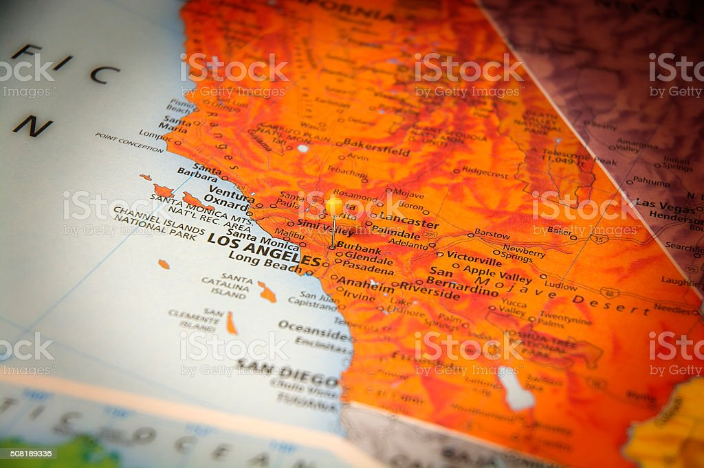Burbank California Travel Road Map Macro stock photo