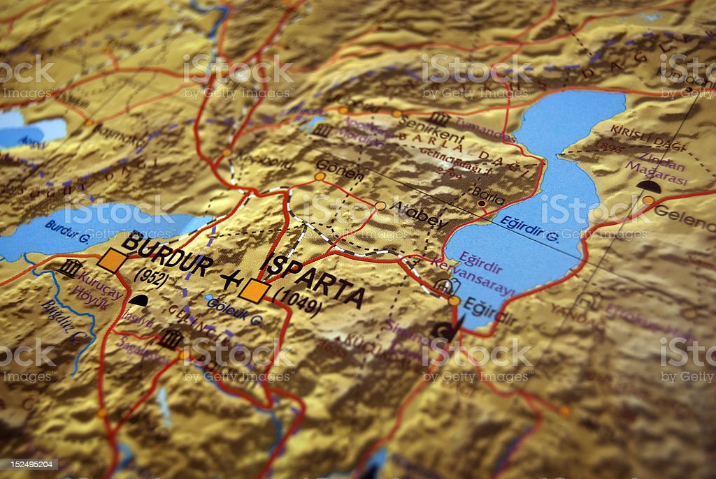 Burdur and Isparta City Map of Turkey stock photo