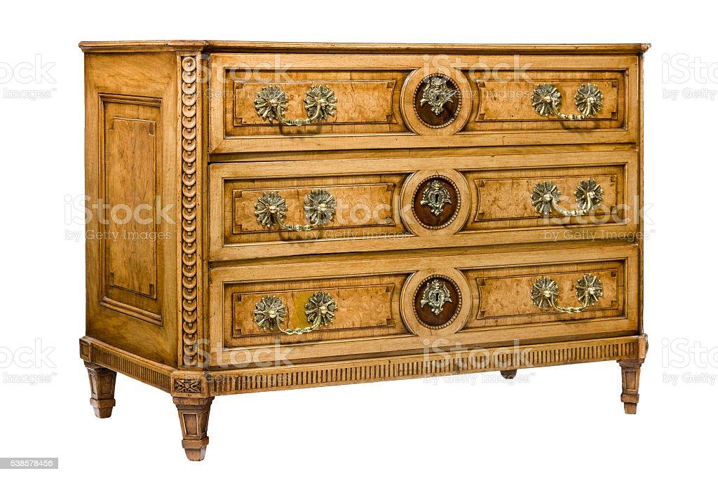 Bureau cabinet chest of drawers stylish with ormolu isolated stock photo