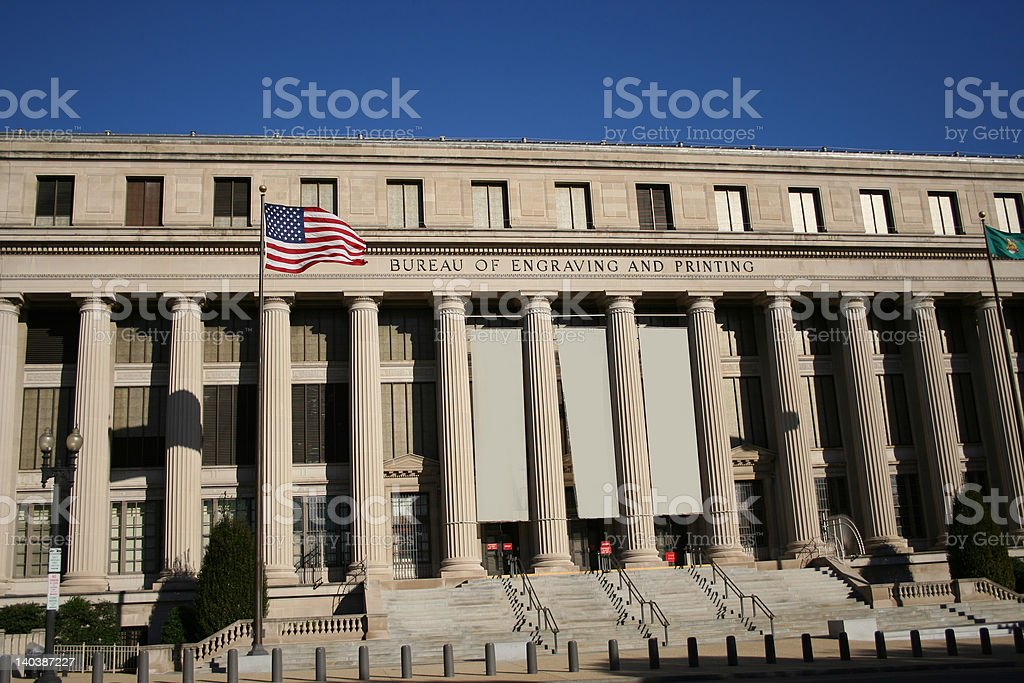 Bureau of engraving and printing stock photo