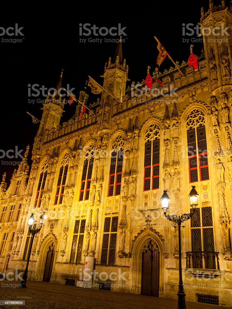 Burg square with the City Hall in Bruges by night stock photo