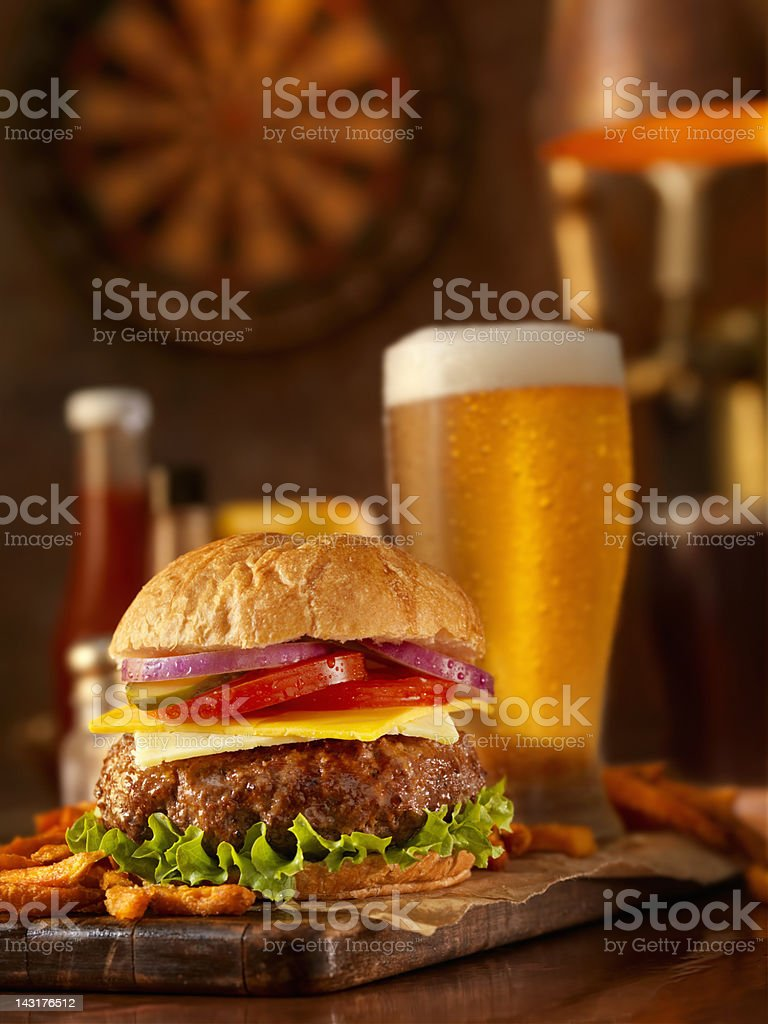 Burger and a Beer royalty-free stock photo