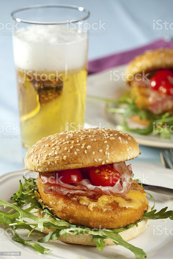 Burger and beer royalty-free stock photo