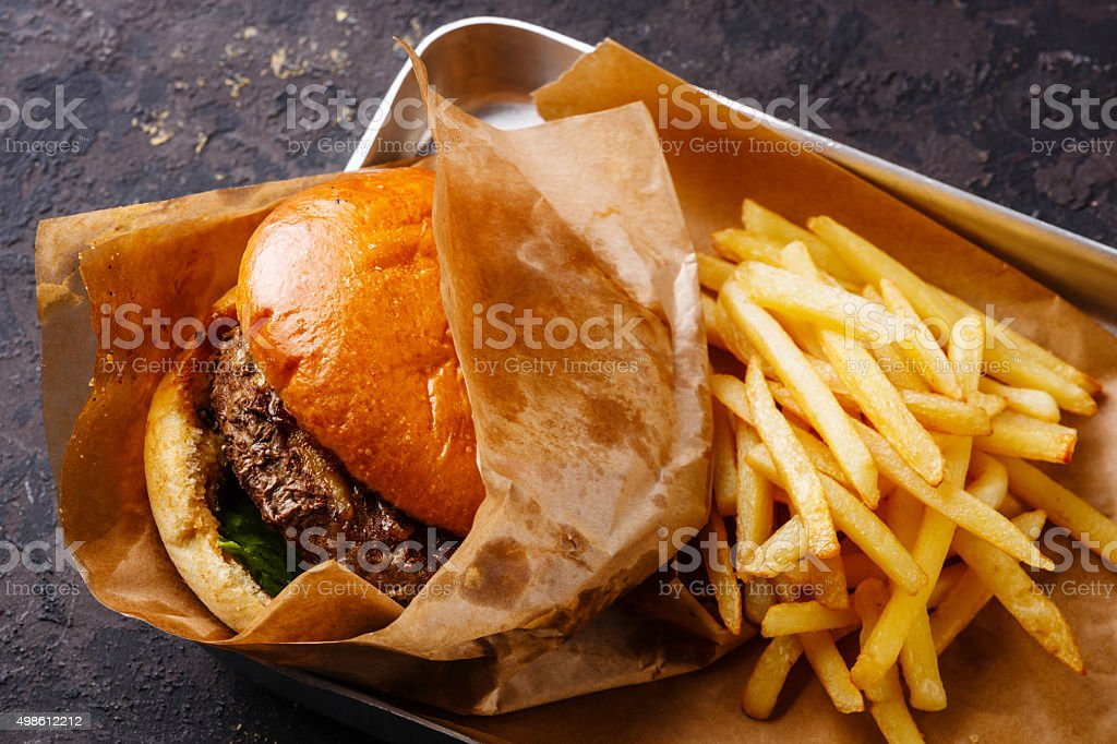 Burger and French fries in aluminum tray stock photo