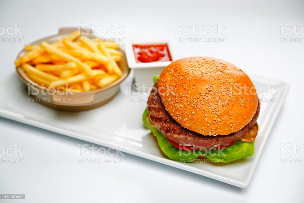 burger and french fries royalty-free stock photo