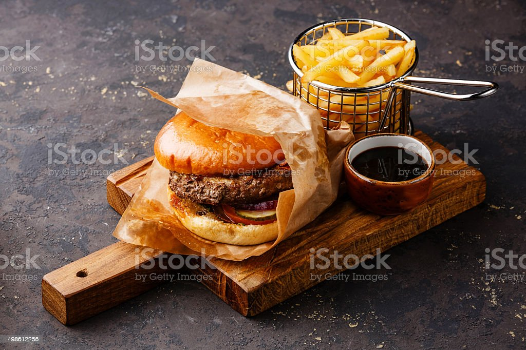 Burger and French fries stock photo