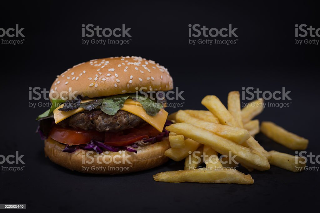 Burger and French fries. stock photo