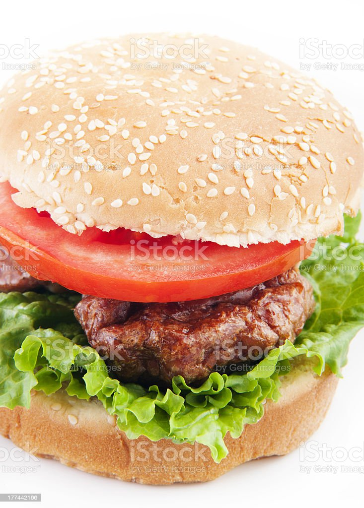 burger closeup in white background royalty-free stock photo
