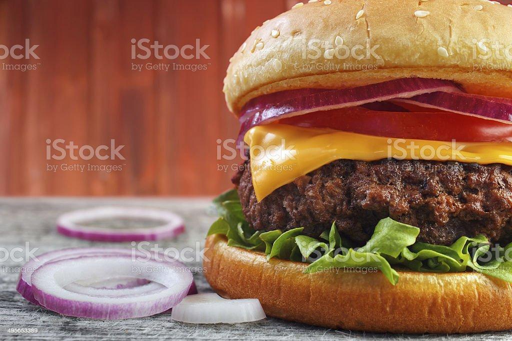 Burger closeup royalty-free stock photo
