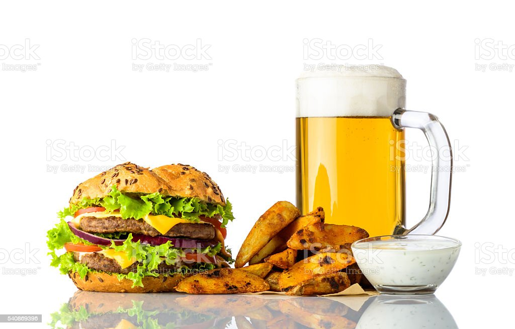Burger, Cold Beer and Fries with Dipping Souce stock photo