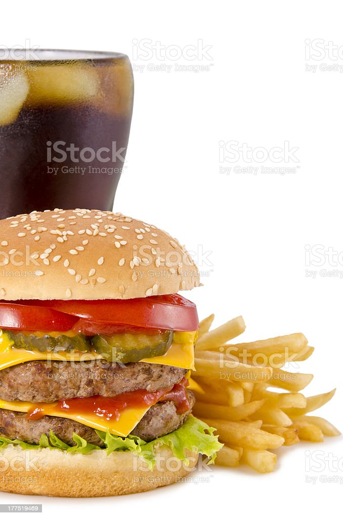 Burger, french fries and cola royalty-free stock photo