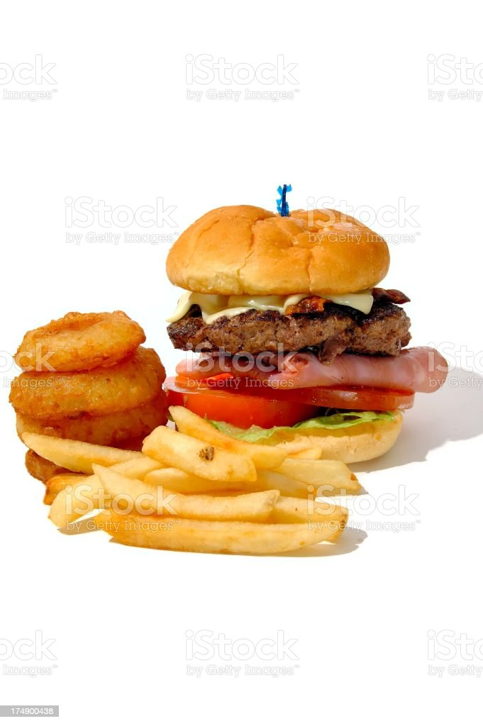 Burger, fries onion rings royalty-free stock photo