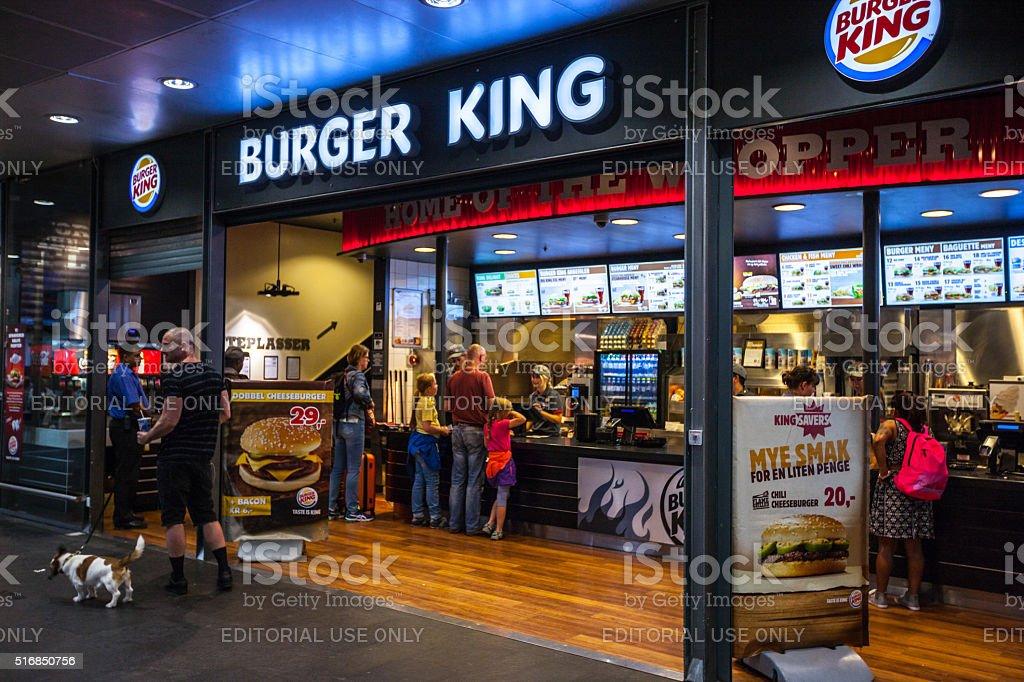 Burger King at Oslo Central Train Station, Norway stock photo