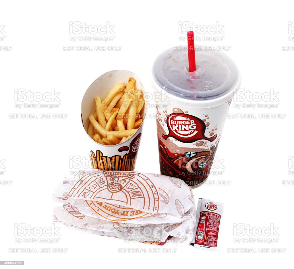 Burger King Chicken Sandwich Value Meal stock photo