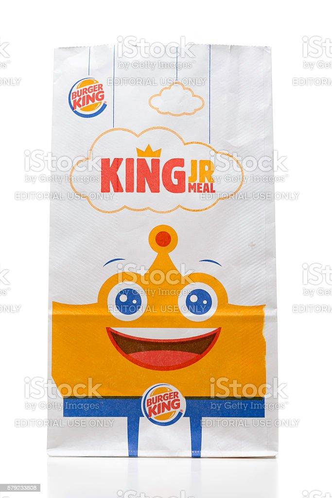 Burger King kids meal takeout bag stock photo