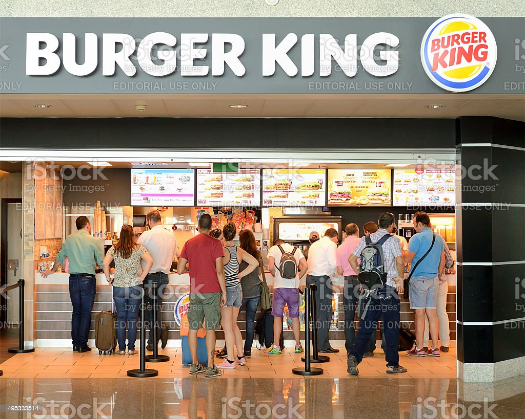 Burger King restaurant  at Francisco Sá Carneiro Airport, Porto stock photo