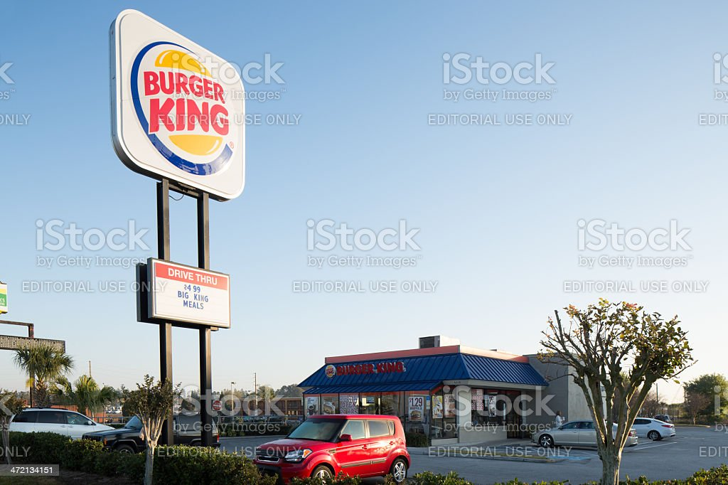 Burger King Sign and restaurant stock photo