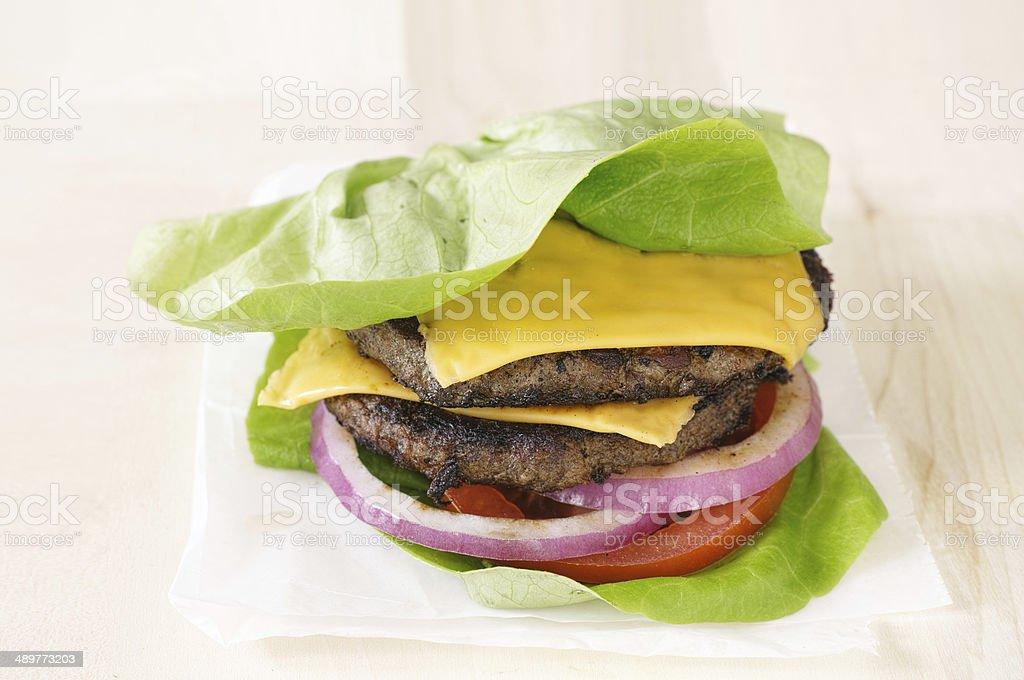 burger lettuce wrap close up stock photo