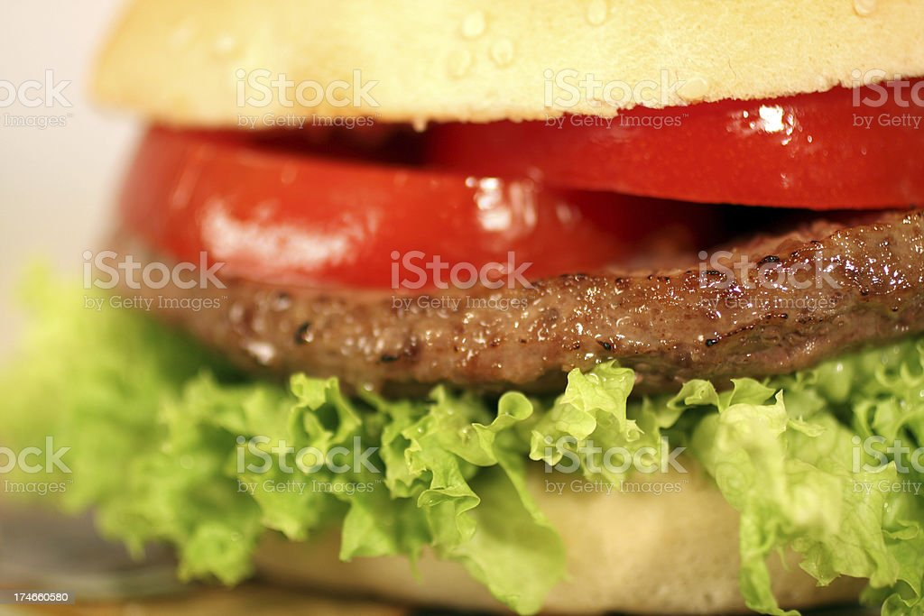 Burger, Letucce and Tomatoe Detail royalty-free stock photo