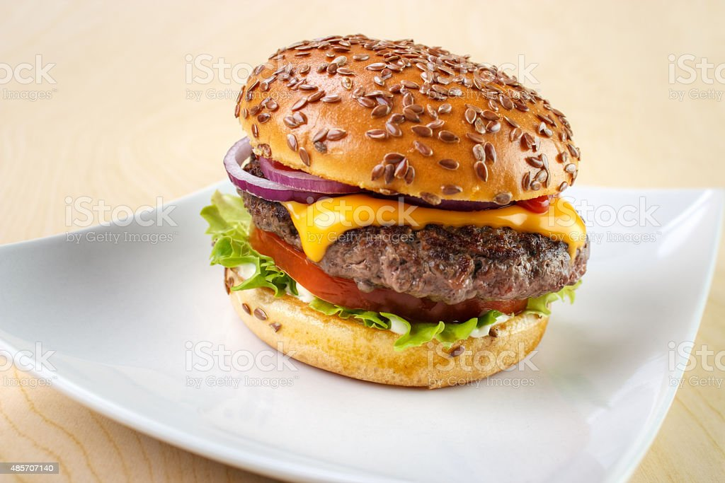 Burger on dish stock photo