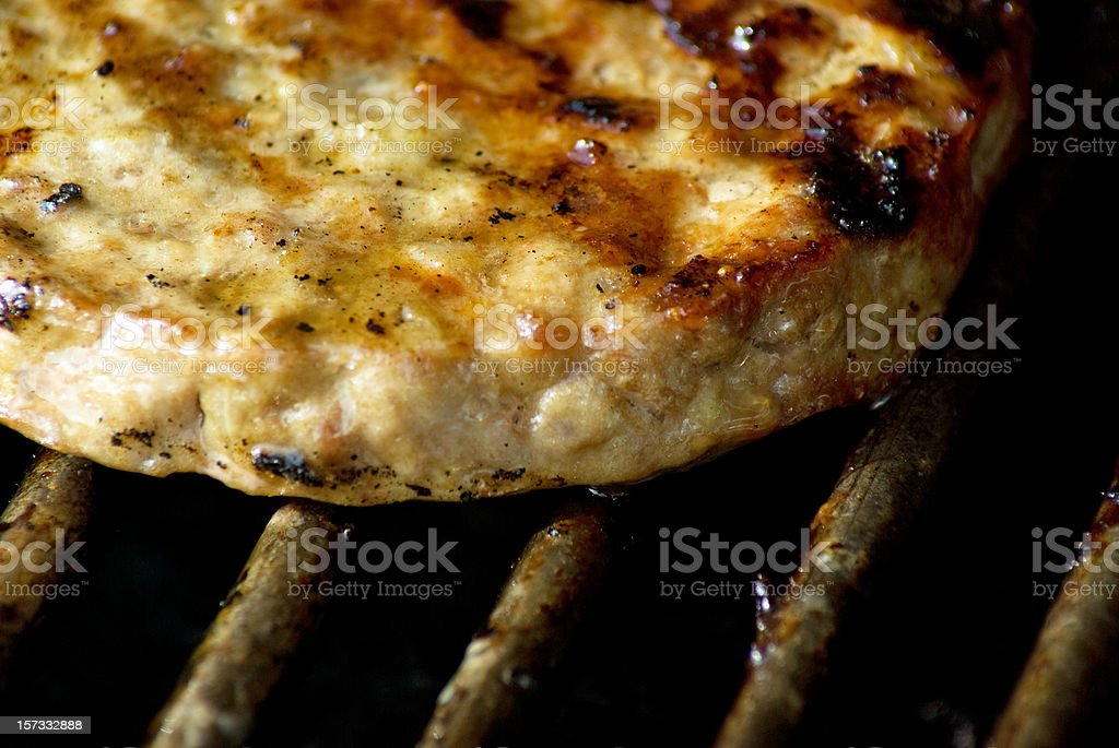 Burger on Grill royalty-free stock photo