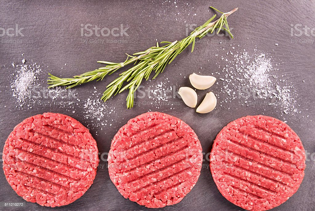 Burger patties stock photo