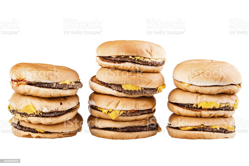 Burger piles stock photo