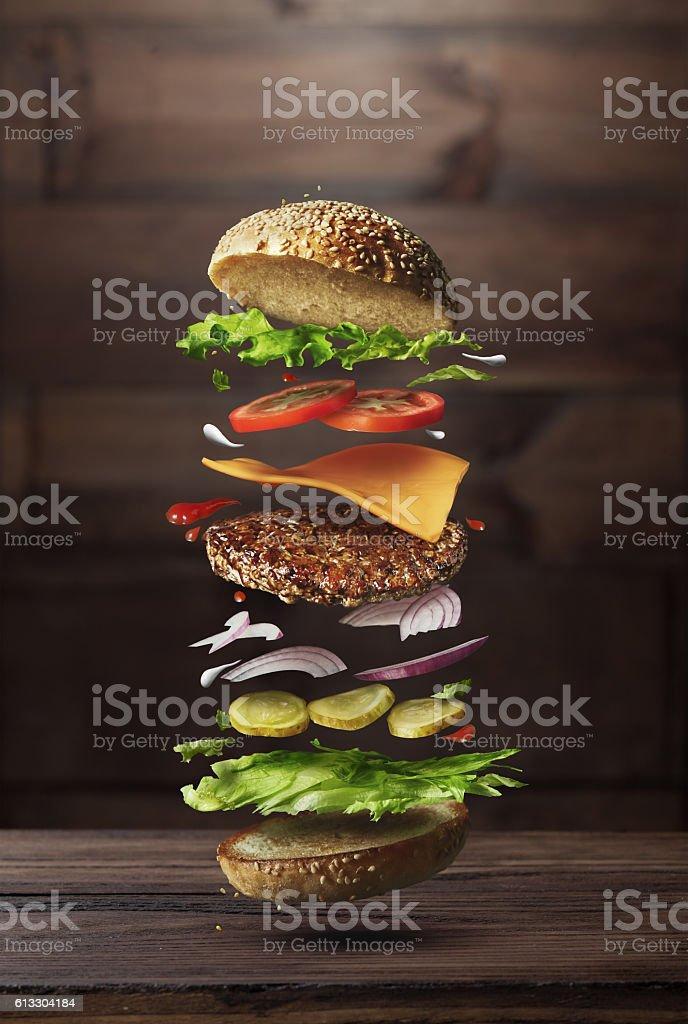 Burger preparation ingredients stock photo