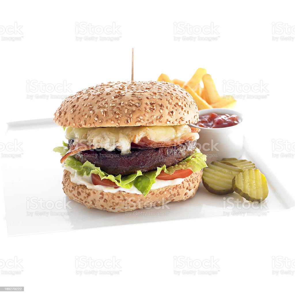 Burger shot shallow focus on front with french fries stock photo