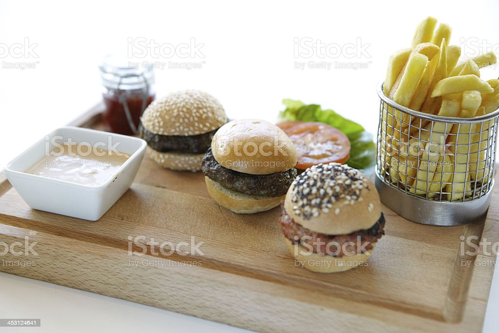 Burger sliders meal stock photo