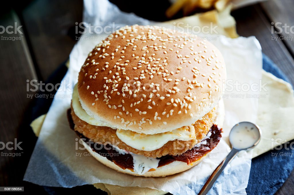 burger with chips stock photo